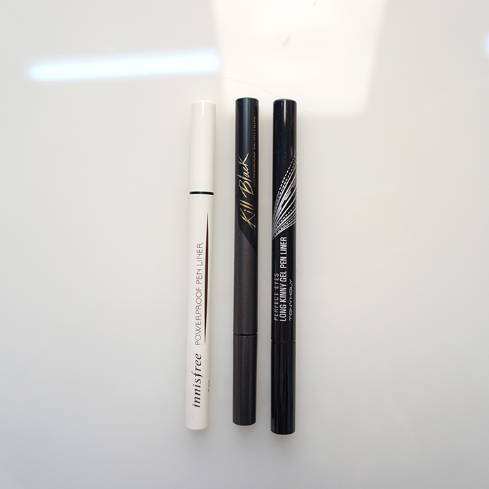 Innisfree powerproof pen liner,CLIO waterproof brush liner kill black,TONYMOLY perfect eyes long kinny gel pen liner,Innisfree,CLIO,TONYMOLY pen eyeliner,Innisfree,CLIO,TONYMOLY,penliner,eyeliner