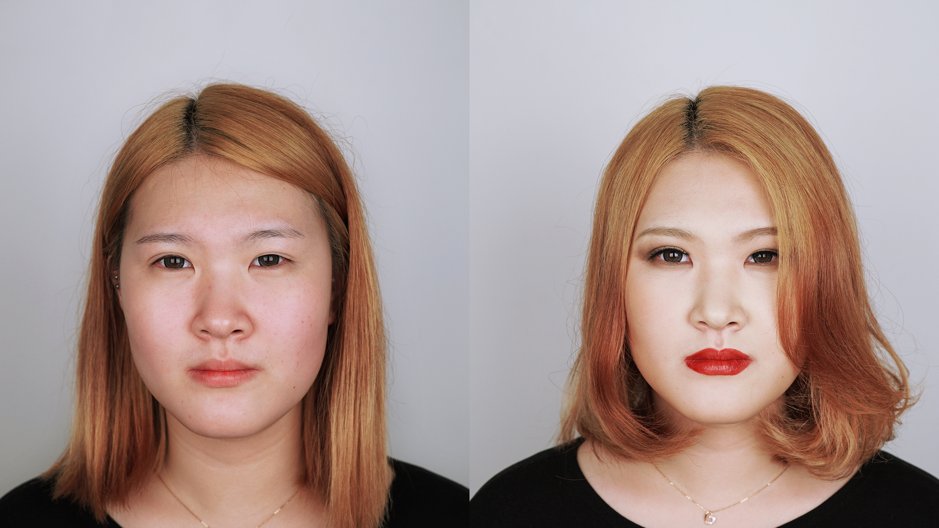 Jolse before and after #4 Smoky red makeup